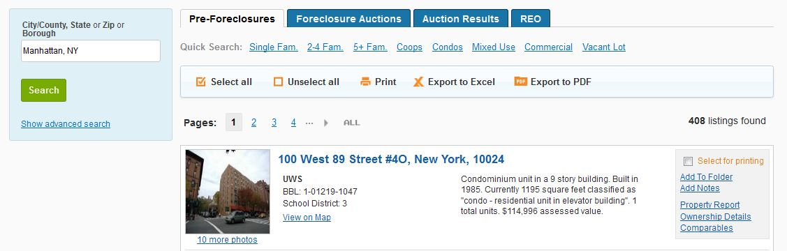 Find pre-foreclosures in NYC