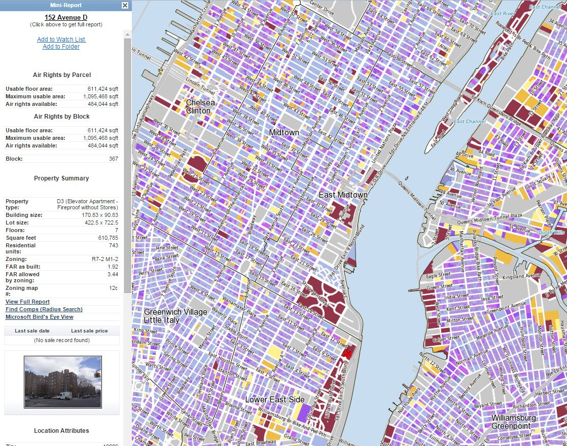 NYC air rights map and mini report