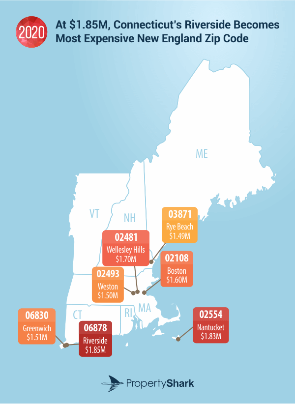 Map of Most Expensive Zip Codes in New England