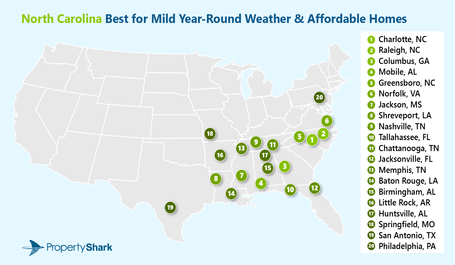A map of the U.S. which highlights the top 20 cities which are affordable and have mild weather. The title of the image reads: North Carolina Best for Mild Year-Round Weather & Affordable Homes.